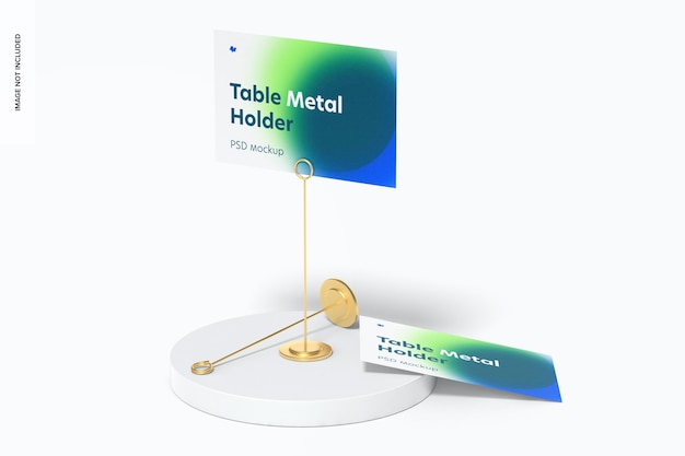 Table stand metal sign holders mockup