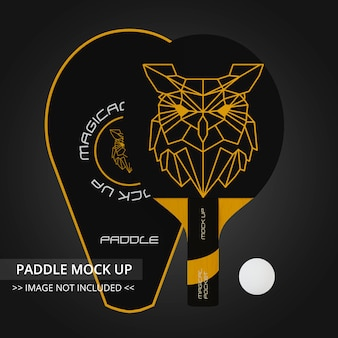 卓球ラケットモックアップ-シングルパドルとジャケット