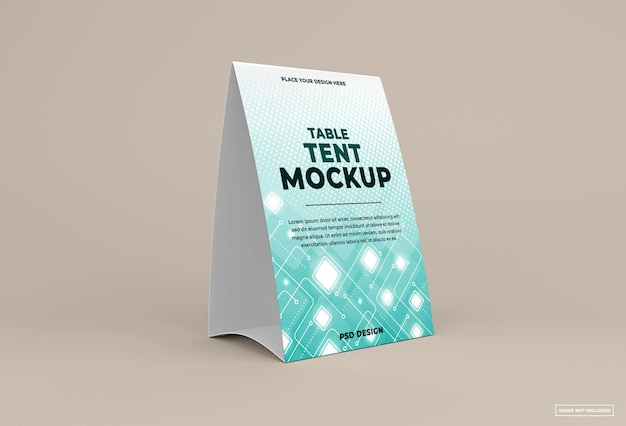 Table tent mockup isolated on soft color background