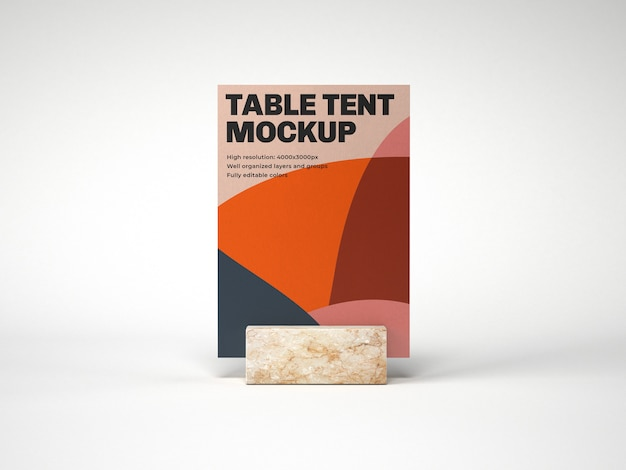 Table tent with marble holder mockup