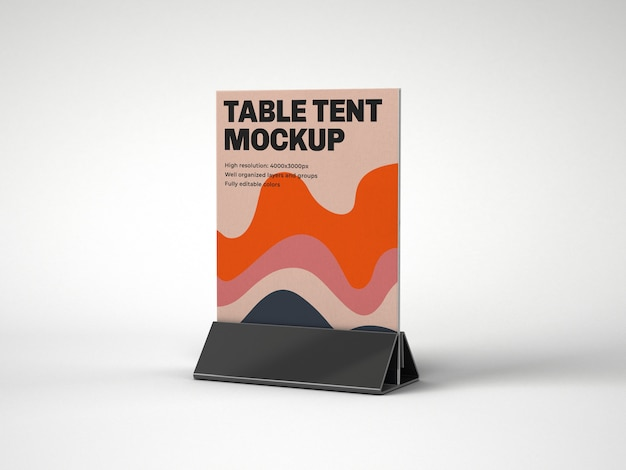 Table tent with plastic holder mockup
