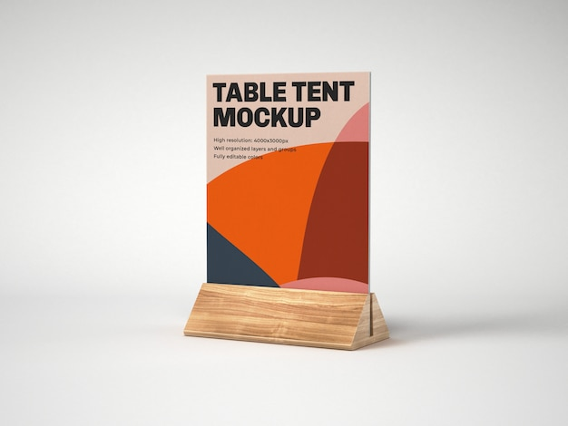 Table tent with wood holder mockup
