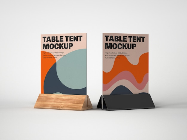 Table tent with wood and plastic holder mockup