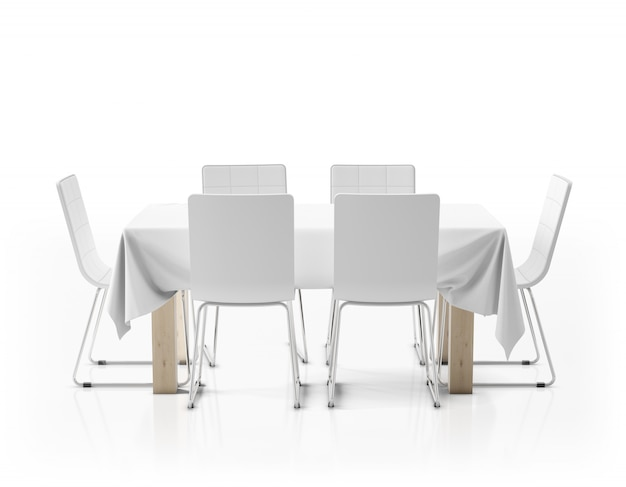 テーブルクロスと椅子のあるテーブル