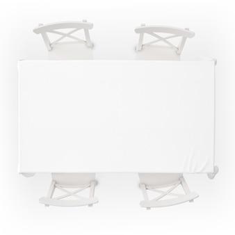 식탁보와 의자가있는 테이블