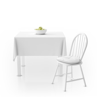 Table with tablecloth, bowl with apples and chair
