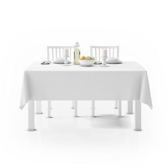 テーブルクロス、食器、椅子付きのテーブル