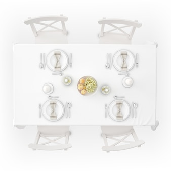 식탁보, 식기 및 의자가있는 테이블