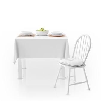 Table with tablecloth, dishware and chair