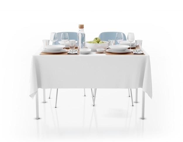 Tavolo con tovaglia, stoviglie e sedie