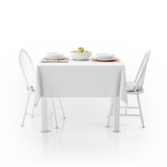 Table with tablecloth, dishware and chairs