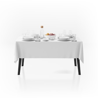 Table with tablecloth and dishware