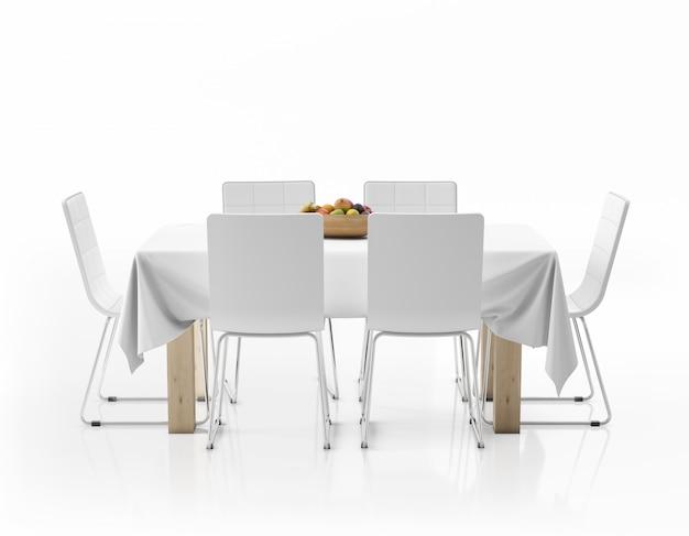 テーブルクロス、フルーツ、椅子付きのテーブル