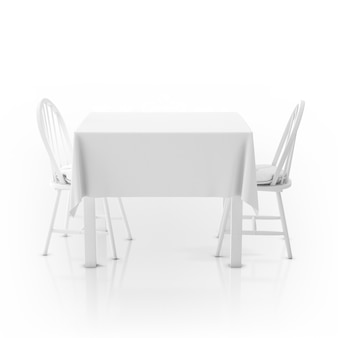 Table with tablecloth and two chairs
