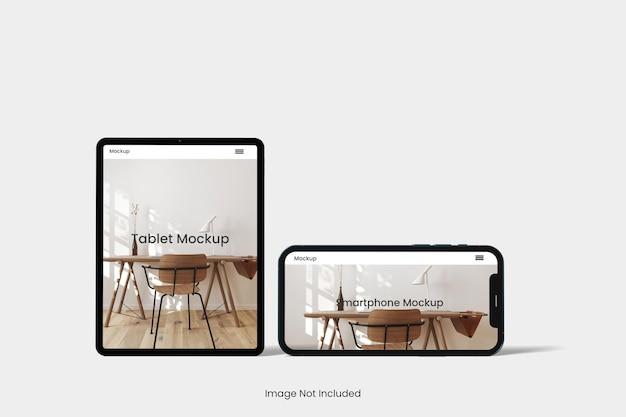 分離されたタブレットと電話のモックアップ デザイン