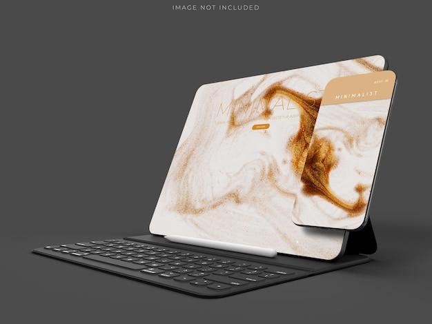 태블릿 및 전화 목업 장면 디자인