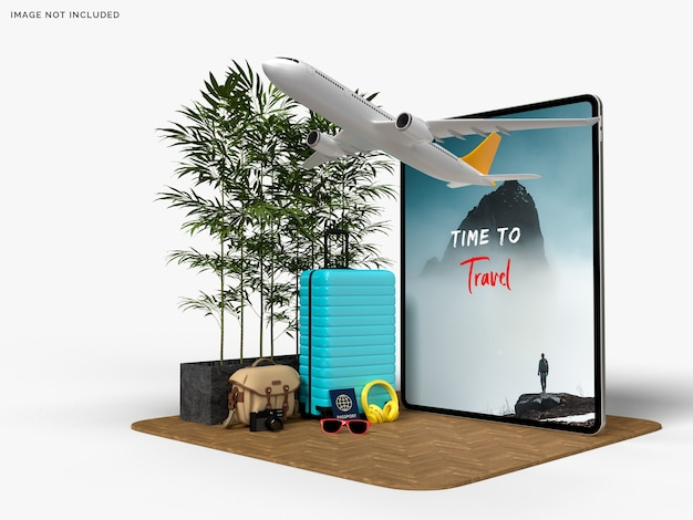 旅行者と飛行機のアクセサリーのモックアップとタブレットとスーツケース
