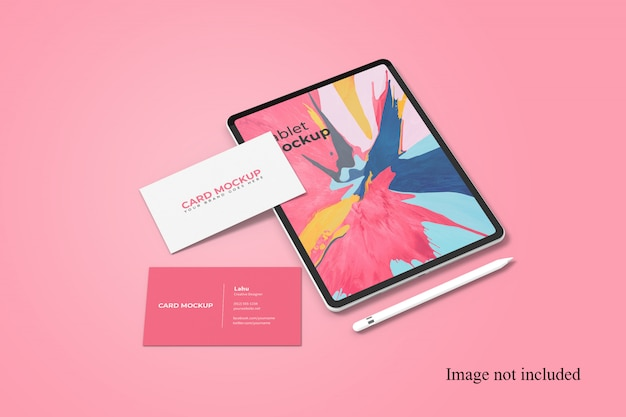 Tablet and business card stationery branding mockups