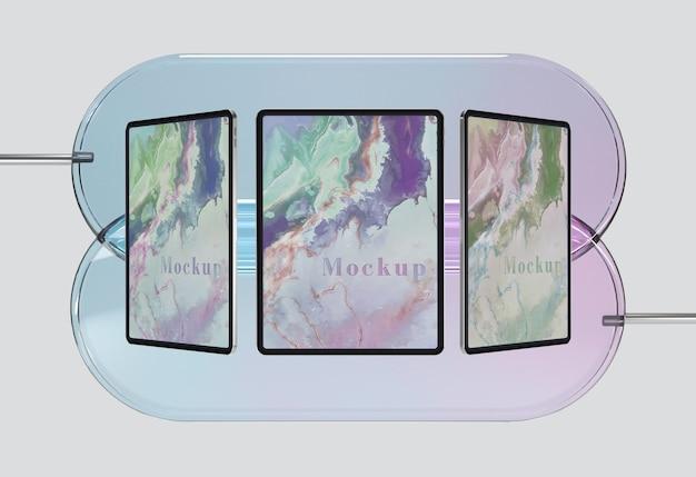 Collezione di tablet con supporto in vetro