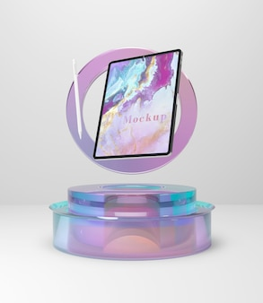 Коллекция планшетов с прозрачной стеклянной подставкой