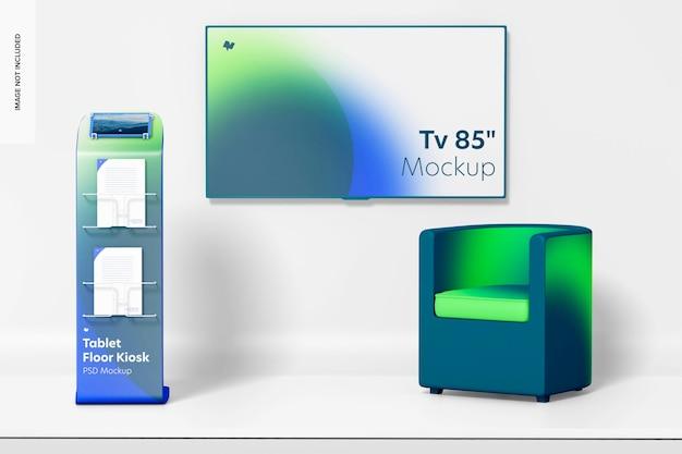Tvモックアップ付きタブレットフロアキオスク