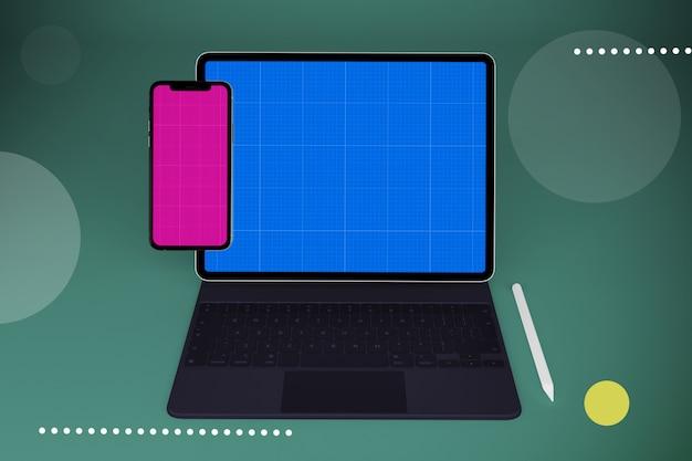 Tablet and keyboard mockup Premium Psd