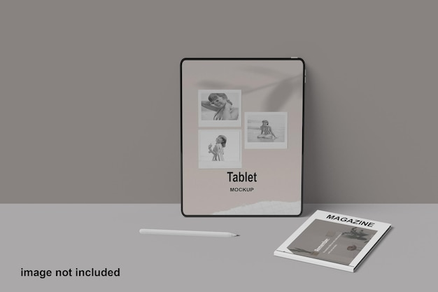 Tablet and magazine mockup design isolated premium