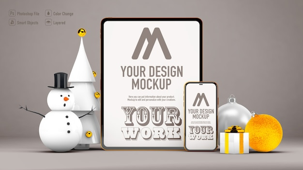 Tablet and mobile mockup with christmas decoration isolated