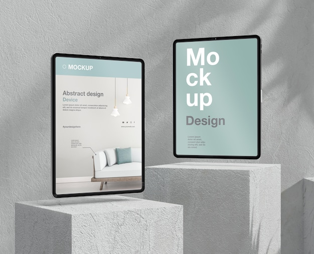 Tablet mock-up assortment with stone and metallic elements