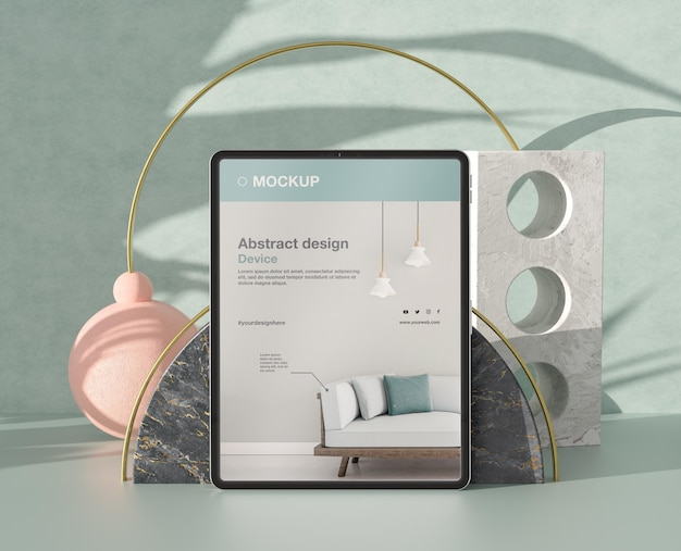 Tablet mock-up composition with stone and metallic elements