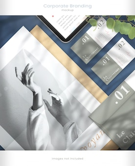 Tablet mockup and corporate branding mockup with leaf shadow overlays
