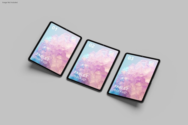 Tablet mockup design in 3d rendering
