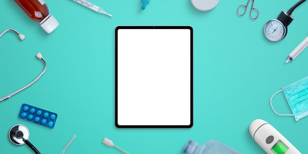 Tablet mockup on hospital desk surrounded by medical equipment and medicines. photoshop psd scene creator with separated layers
