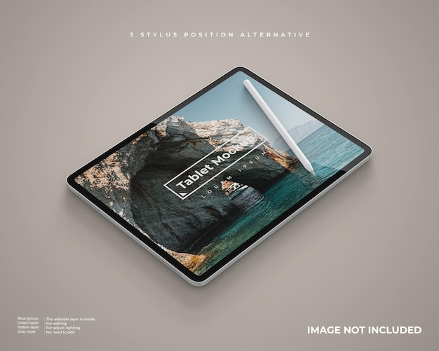Tablet mockup on landscape position with stylus looks left view