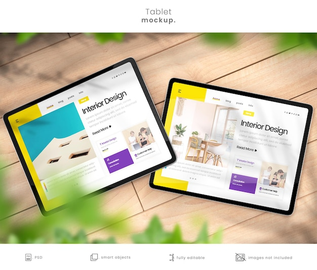 Tablet mockup for showcasing websites and blogs