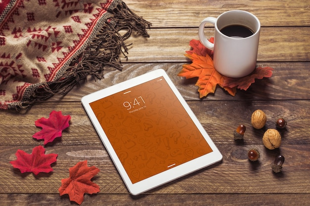 Tablet mockup with autumn concept