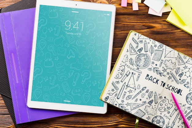 Tablet mockup with back to school concept