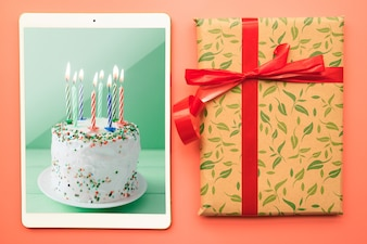 Tablet mockup with birthday concept