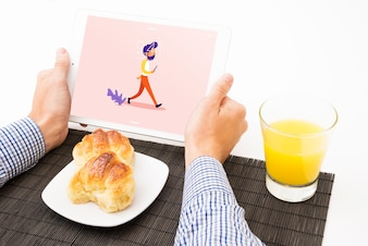 Tablet mockup with breakfast concept