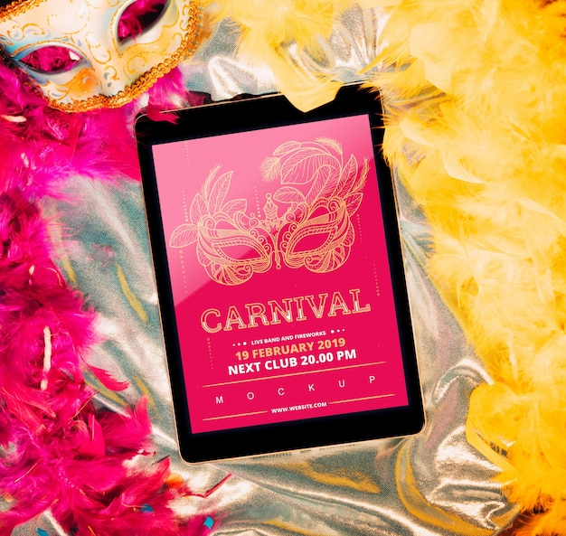 Tablet mockup with carnival concept