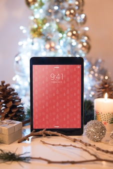 Tablet mockup with christmas concept