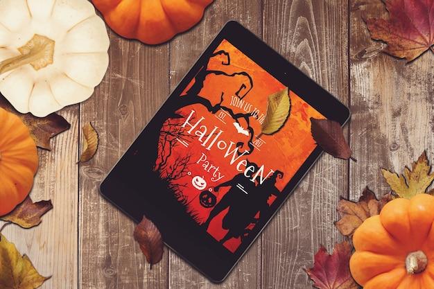 Tablet mockup with halloween design