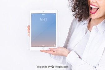 Tablet mockup with joyful woman