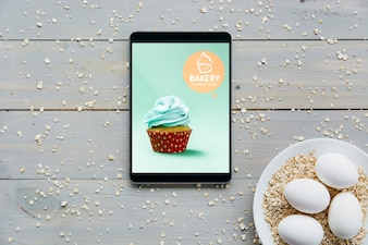 Tablet mockup with kitchen concept