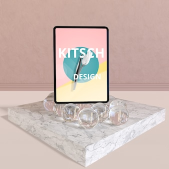 Tablet mockup with kitsch concept