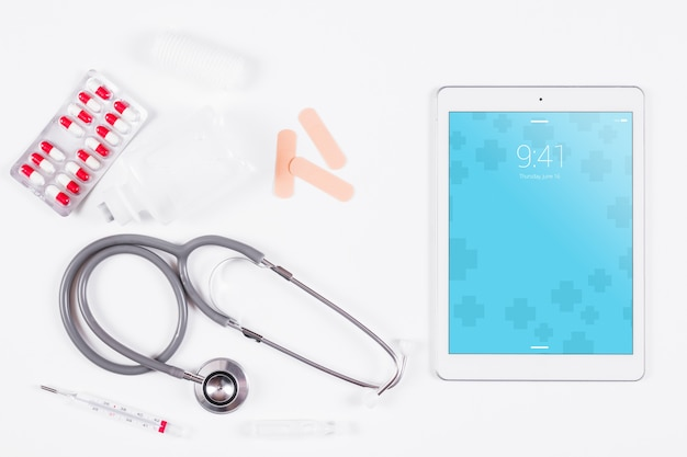 Tablet mockup with medical concept