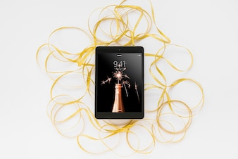 Tablet mockup with new year decoration