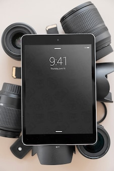Tablet mockup with photography concept