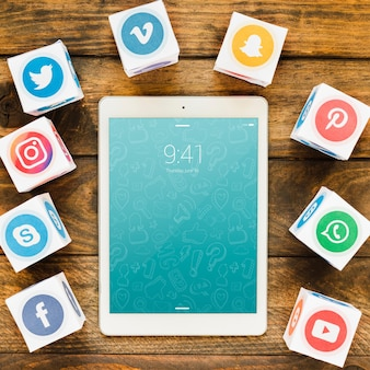 Tablet mockup with social media concept