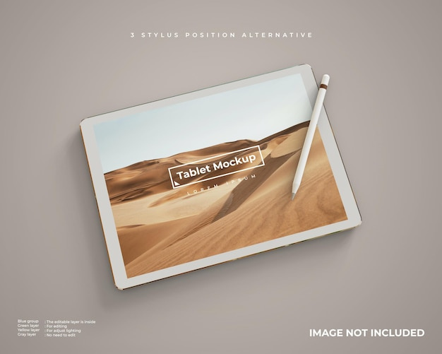 Tablet mockup with stylus in horizontal position looks left perspective view